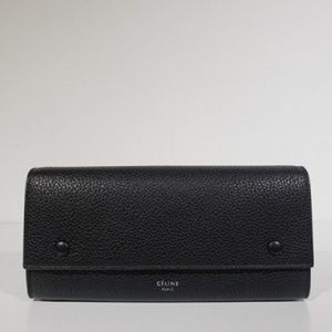 Black Large Flap Multifunction In Drummed Leather